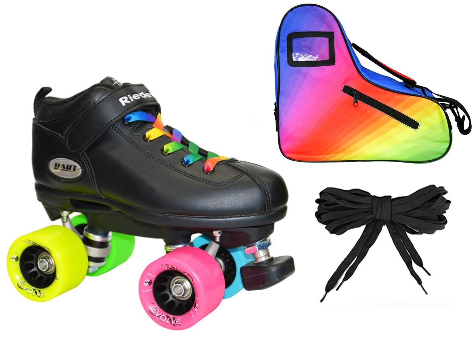 Riedell Dart Double Rainbow Quad Roller Derby  Speed S  LE Rainbow Bag Bundle  no minimum