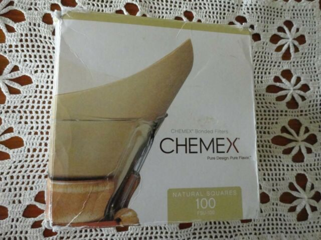 Chemex Natural Pre-Folded Squares Coffee Maker Bonded Filters 100 New in Box