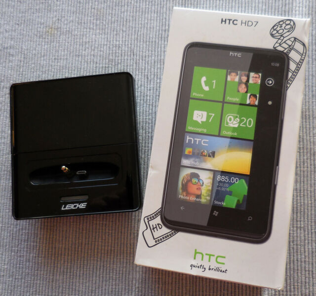 HTC HD7 - 8GB - Schwarz (Ohne Simlock) WINDOWS PHONE 7 OVP Ladestation