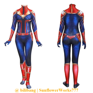 cc2b55285af Image is loading Captain-Marvel-Cosplay-Costume-Zentai-Jumpsuit-Catsuit- Bodysuit-