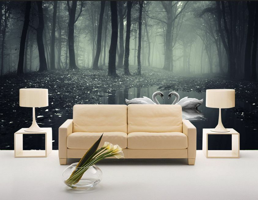 3D Mega Forest White Swans 424 Wall Paper Wall Print Decal Wall AJ Wall Paper