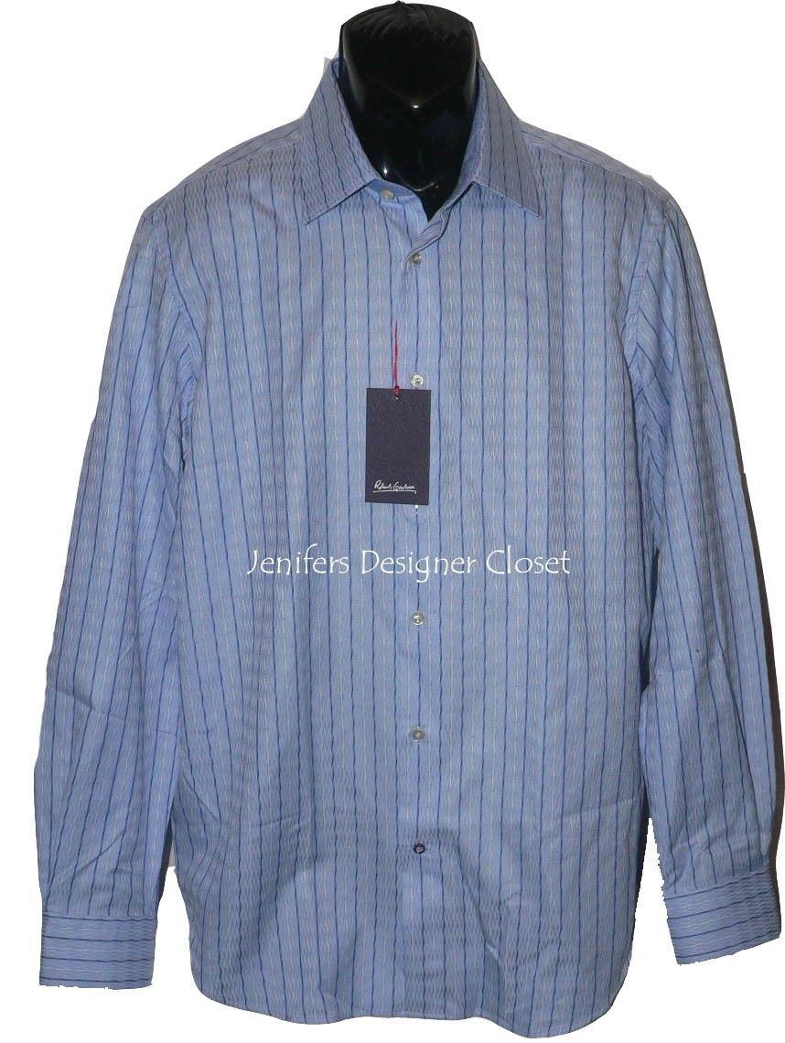 Nwt Robert Graham Größe-16.5 42 Anzugshemd Blau Weiß Gestreift Luxus-Designer
