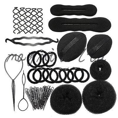 X Magic Hair Clip Style Maker Accessory Tool Pads Foam Sponge Bun Donut Hairpins
