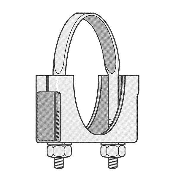 "5-1/2"" Welded Saddle Clamp - Flat U Bolt - Zinc Plated Muffler Pipe Exhaust 5.5"""