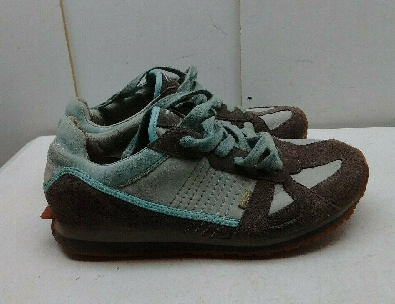 Diesel Biel marron bleu cuir marron Athlétique Baskets Marche femmes chaussures 10 M 41