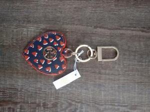 41730895a10 NWT Tory Burch Logo Heart Key Chain Bag Charm  Red White and Blue ...