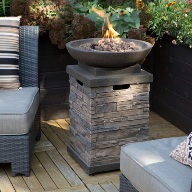Outdoor Fire Pit Bowl Table Propane Backyard Furniture Heater Deck Cover New