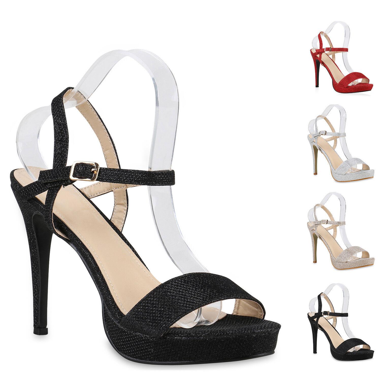 Damen Party Sandaletten High Heels Glitzer Plateau Stilettos 812512 New Look