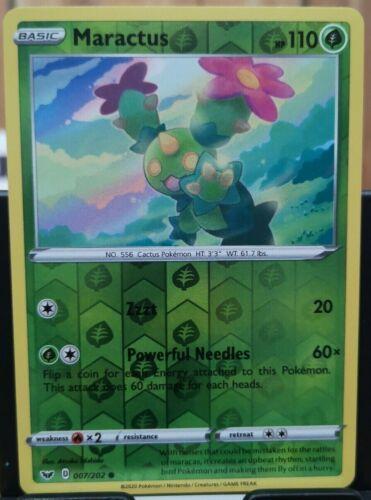 Pokemon Maractus Sword /& Shield 007//202 Reverse Holo Common *