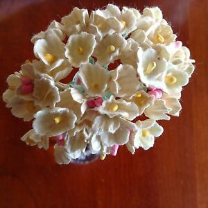 Vintage-Millinery-Flower-Forget-Me-Not-Soft-Yellow-Cluster-for-Hat-Hair-Sy1