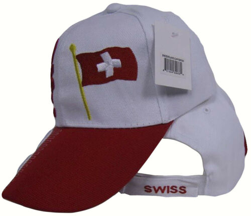 Swiss Switzerland Country Red White 3-D Embroidered Baseball Hat Cap RAM