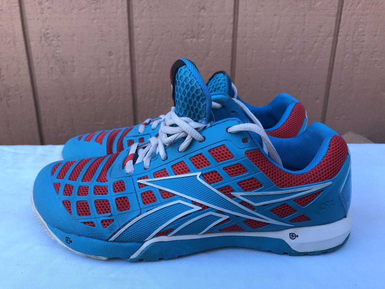 EUC Women's 3.0 REEBOK CROSSFIT CF74 NANO 3.0 Women's Blue Red US 8.5 Training Shoes A2 d1e949