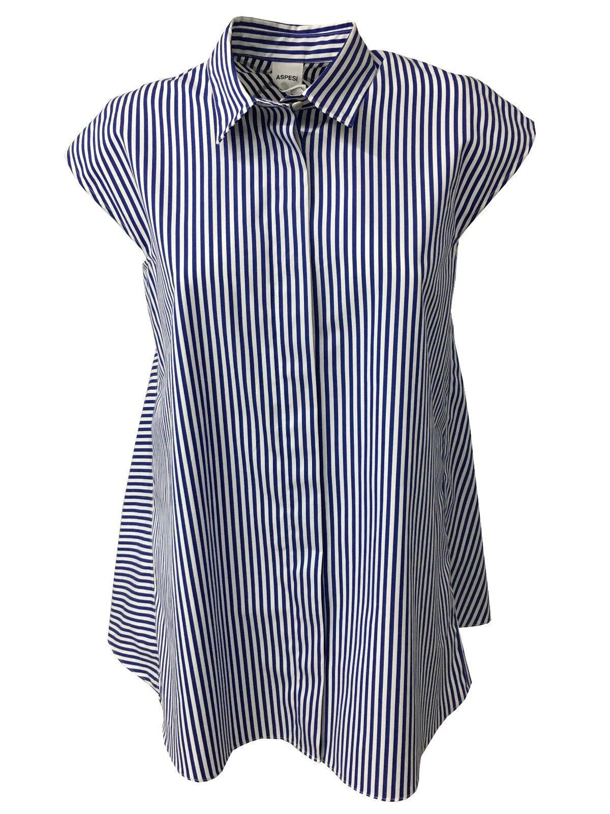 ASPESI Damenhemd Streifen weiß blau Modell H809 B863 100% Baumwolle
