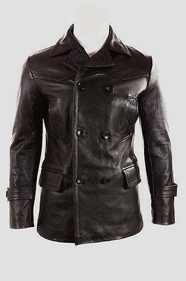 German Submariner WW2 Vintage Men's Cowhide Black Leather Jacket/Coat BWNT