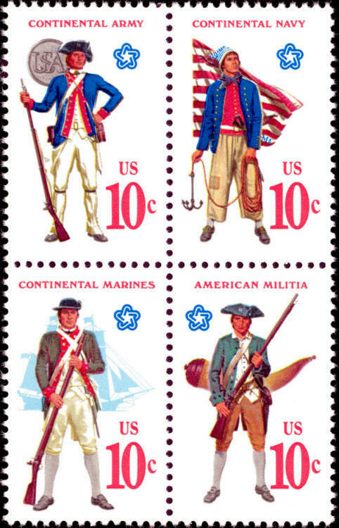 1975 10c War Military Uniforms Army & Navy Block of 4 S