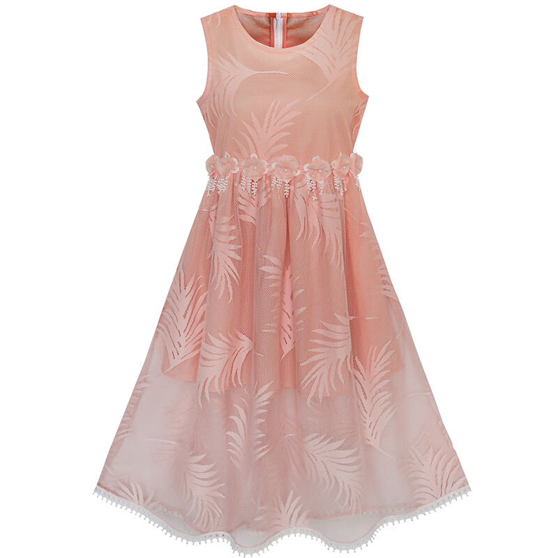 Mädchen Kleid Schnüren Blatt drucken Elegant Prinzessin Party ...