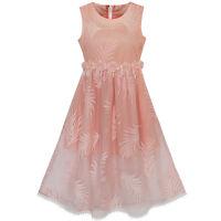 Flower Girl Dress Lace Leaf Print Elegant Princess Party Wedding Age 7-16 Years