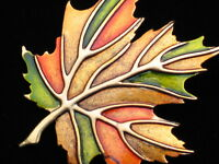 Jj Copper Green Gold Orange Fall Autumn Thanksgiving Leaf Pin Brooch Jewelry