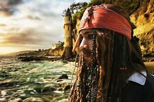*HD VIDEO* OST JACK SPARROW WIG ON STRANGER TIDES BANDANA BEADS