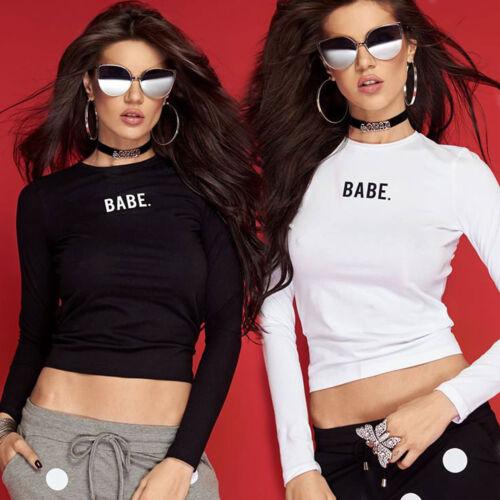 By Alina Damentop Pullover Longshirt Damenshirt Oberteil Bluse BABE Print XS-M