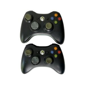 Lot of (2) Official OEM Microsoft Xbox 360 Wireless Controllers Black