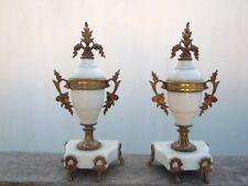 Cassolettes style louis XVI marbre blanc bronze d'époque 19ème