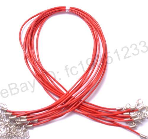 Cuir noir cordon collier avec homard fermoir pour bijoux À faire soi-même 1.5 mm 2 mm