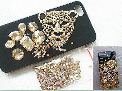 Bling 3D alloy leopard head Diy phone case deco den kit crystal rhinestone