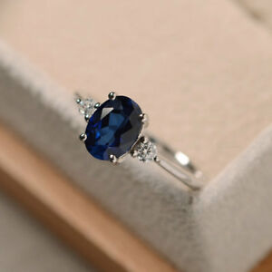 1-70-Ct-Oval-Cut-Natural-Blue-Sapphire-Real-Diamond-Ring-14K-White-Gold-Size-5-7