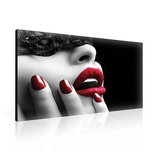 Image-de-toile-canevas-impression-murale-civiere-Sexy-Lady-rouge-levres-et-clous