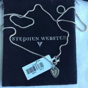 """$425 Stephen Webster 18"""" Sterling Silver Box Chaîne Collier Neuf Avec étiquettes-afficher Le Titre D'origine"""