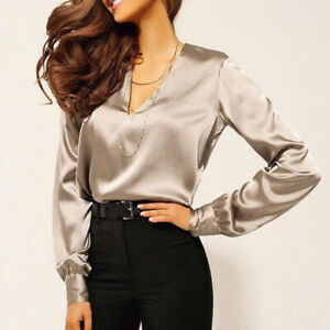 0193a1e7ab Details about Women Shirt Sexy V Neck Satin Blouse Casual Long Sleeve Office  Lady Elegant Tops