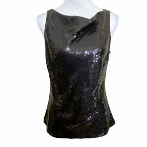 Ann Taylor Womens Black Sequin Tapered Blouse Top Sleeveless Drape Neck Size 8