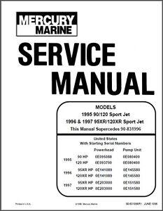 mercury 90 120 95xr 120xr sport jet drive service repair rh ebay co uk mercury 175 sport jet manual mercury sport jet 175 xr2 manual