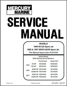 mercury 90 120 95xr 120xr sport jet drive service repair rh ebay co uk mercury service manual 14 pdf mercury service manual pdf
