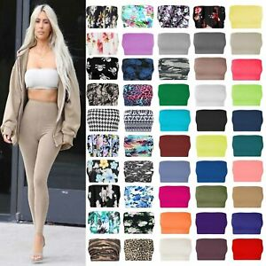 Womens-Plain-Printed-Boob-Tube-Strapless-Bandeau-Stretchy-Vest-Bra-Crop-Top