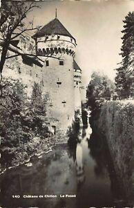 Vintage-Real-Photo-Postcard-Chateau-de-Chillon-Le-Fosse-Switzerland-32R