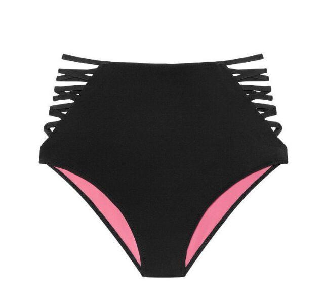dc5428d9bff40 NWT Victoria s Secret PINK Swim High-Waist Bikini Bottom L Large Black  Strappy