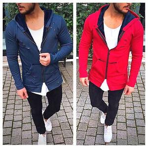 Oversize-Pullover-Rot-Cardigan-Kapuze-Strickjacke-Herren-Destroyed-Style-Luxus