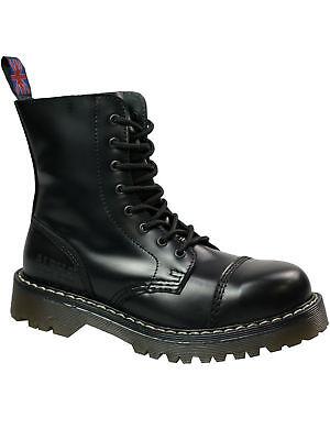 Schwarze Naht 5054 Stiefel Boots Alpha London 8 loch Boot