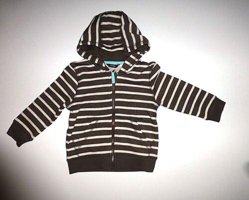 Boy/'s Brown /& Cream Striped Zip Up Hoodie Age 2-3 Years NEW