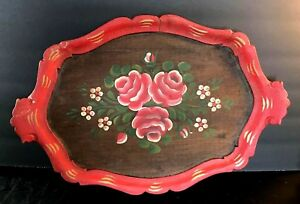 Vintage-Tole-Painted-Wood-Walnut-or-Oak-Tray-bright-colors-red-green-roses-daisy