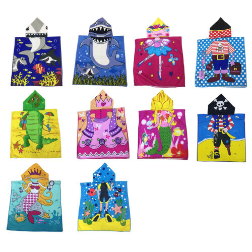 Baby Kids Child Carton Soft Hooded Poncho Swim Beach Bath Towel Wear Bathrobe US