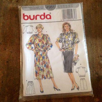 Skirt Blouse Pattern w Variations Burda 4981 Uncut 14 - 24 / 40 - 50 Blouson