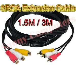 3-RCA-Male-to-3RCA-Female-Audio-Video-Composite-Extension-Adapter-Cable-DVD-AU