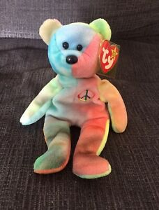1996 Ty Beanie Baby Paix The Teinture Ourson - Excellente Condition