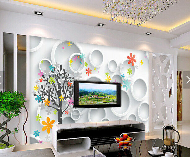 3D Flowers Farbe 589 Wall Paper Wall Print Decal Deco Indoor Wall Mural CA