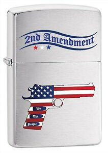 Zippo-Lighter-Second-Amendment-Gun-and-American-Flag-Brushed-Chrome-79545