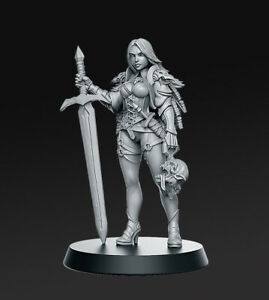 ZIRILA-SEXY-FEMALE-WARRIOR-SCALE-32mm-MORDHEIM-ZOMBICIDE-DnD-ROL-WARHAMMER