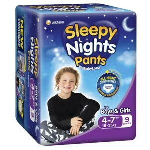 Babylove Unisex Sleepy Nights Pants 4-7 Years 18-35 Kg 9 pack